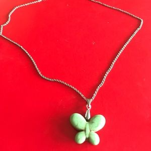Beautiful Green Marble Butterfly Necklace